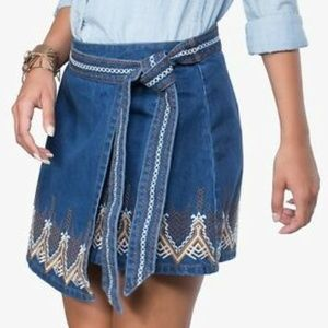 Free People Dream Away Embroidered Denim Skirt 2